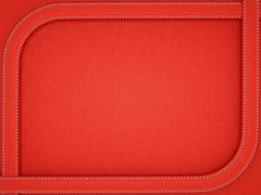 Red leather background with rounded stitched frame Stock Illustration