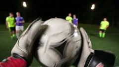 Football team attacks, goalkeeper saves the goal in soccer match (pov) Stock Footage