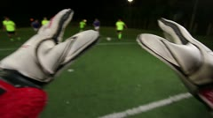Soccer goalkeeper save (punch). POV of keeper. Football youth playing. Stock Footage