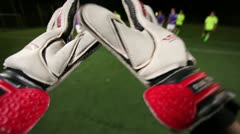 Keeper saves goal in a soccer match. Goalkeeper pov. Stock Footage