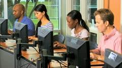 Multi Ethnic Class Adults Career Retraining - stock footage