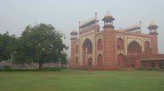 Taj Mahal entrance in Agra India Stock Footage