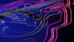 Neon phosphorescent guitar - stock photo