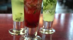 Close ups of several cocktails - stock footage