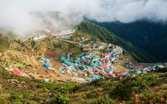 namche bazaar village in nepal - stock photo