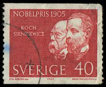 sweden - circa 1965: a stamp printed in sweden showing nobel awarded scientis - stock photo