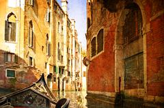 Stock Photo of beautiful water street - venice, italy. photo in old color image style.