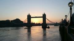 London tower bridge at sunrise Stock Footage