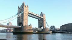 commercial ship passes under london tower bridge - stock footage