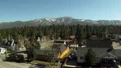 Big Bear Mountain Homes Aerial Shot Stock Footage