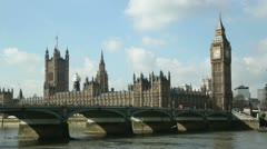 Houses of parliament and westminster bridge, london, england Stock Footage