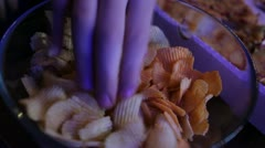Potato chips on a plate. - stock footage