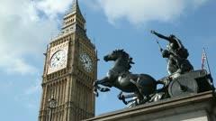 Big ben and statue of boadicea, london, england Stock Footage