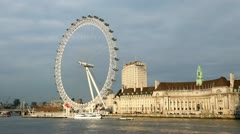 London eye and county hall in warm evening light Stock Footage