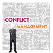 business word cloud for business and finance concept, conflict management - stock illustration