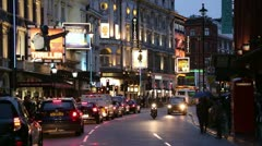 Shaftesbury avenue west end theatres at night, london Stock Footage