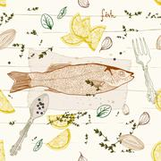 seamless background with fish dish - stock illustration