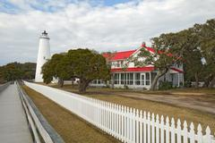 ocracoke island lighthouse on the outer banks of north carolina - stock photo