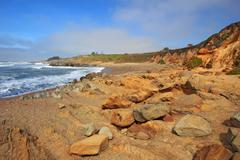 pebble beach at bean hollow state beach in california - stock photo