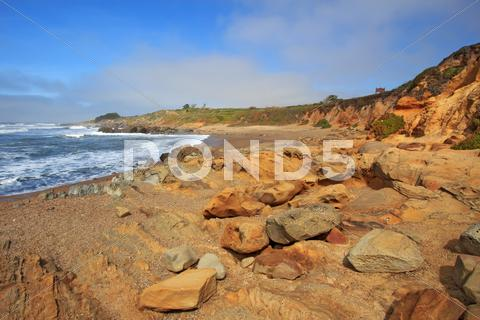 Stock photo of pebble beach at bean hollow state beach in california