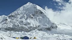 Tents at advance base camp Stock Footage