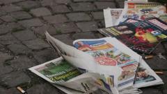 Austrian Newspaper on the floor 1 - stock footage