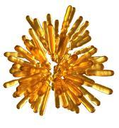 Abstract golden frozen fluid columns in spherical shape isolated Stock Illustration
