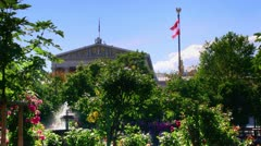 Austrian flag and parliament in the Background - stock footage