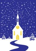 Christmas church of snowy landscape Stock Illustration