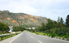 road in cyprus - stock photo