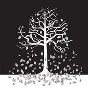 Black and white trees on a negative background, silhouette, autumn Stock Illustration