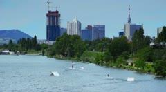 Wakeboarding on Danube Island (wide shot) Stock Footage
