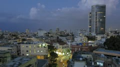 Tel Aviv city night panoramic time lapse - stock footage