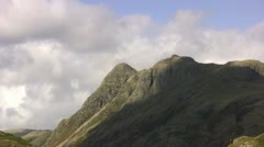 Cloud shadow over Langdale pikes Stock Footage