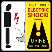 Urinal under electric shock - urine intermittently Stock Illustration