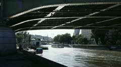 Underneath bridge at Wienkanal, Vienna, Austria Stock Footage