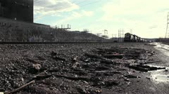 Coal Train Passing By Power Plant Stock Footage