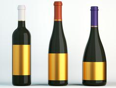 three bottles for wine with blank golden labels - stock illustration