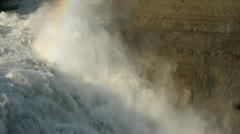 Rainbow at top of waterfall Stock Footage