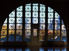Ellis island window Stock Photos