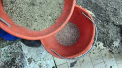 Man prepares seed and fertilizer for sowing Stock Footage