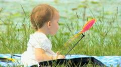 Cute Little Blonde Girl Outdoors Park Grass Stock Footage