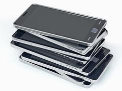 heap of smart phones over white - stock illustration