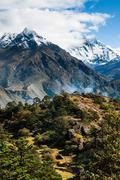 Lhotse, lhotse shar peaks village and forest in himalayas Stock Photos
