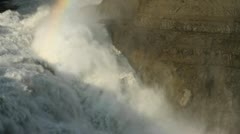 Closer shot of rainbow over waterfall Stock Footage
