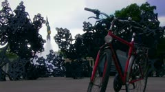 Schwarzenbergplatz and Bike in the foreground Stock Footage