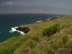 WIndy Ka'u Coastline with Grass Stock Footage