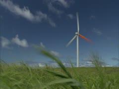 Windmill in Grassy Fiel Stock Footage