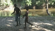 Stock Video Footage of Suriname, kids playing at the river bank