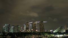 Singapore City Skyline from Marina Barrage at Night Timelapse 1080p Stock Footage